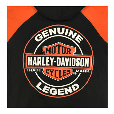 Harley-Davidson Little Boys' Bar & Shield Knit Zippered Hoodie, Black & Orange - Wisconsin Harley-Davidson
