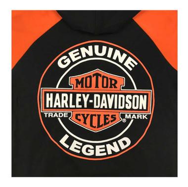 Harley-Davidson Little Boys' B&S Knit Zippered Hoodie, Black & Orange 6580925 - Wisconsin Harley-Davidson