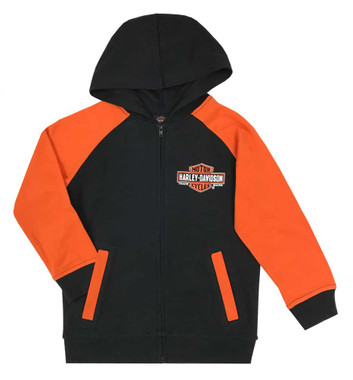 Harley-Davidson Big Boys' Bar & Shield Knit Zippered Hoodie, Black & Orange - Wisconsin Harley-Davidson