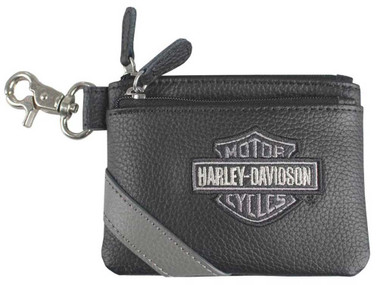 Harley-Davidson Women's Vintage B&S Embroidery Leather Coin Pouch VBS6281-GRYBLK - Wisconsin Harley-Davidson