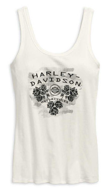 Harley-Davidson Women's Roses Scoop Back Sleeveless Tank Top 96718-19VW - Wisconsin Harley-Davidson
