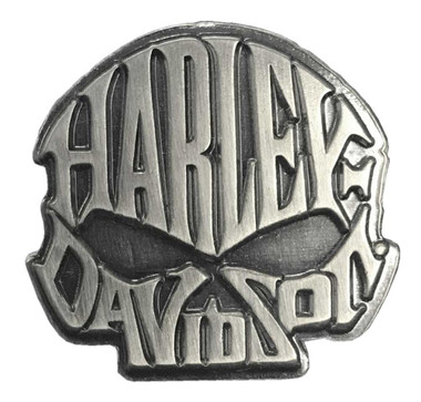 Harley-Davidson 1 in. Willie G. Skull Text Pin, Antique Silver Finish 8008871 - Wisconsin Harley-Davidson