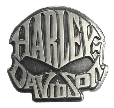 Harley-Davidson 1 in. Willie G. Skull Text Pin, Antique Silver Finish 8008871 - Wisconsin Harley-Davidson