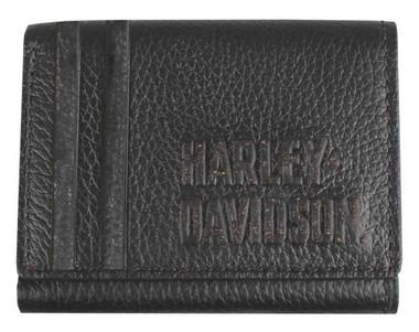 Harley-Davidson Men's Punk 1903 Classic Tri-Fold Leather Wallet PM7750L-BLACK - Wisconsin Harley-Davidson