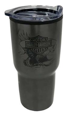 Harley-Davidson Legendary Eagle Stainless Steel Travel Cup, Dark Gray - 30oz. - Wisconsin Harley-Davidson