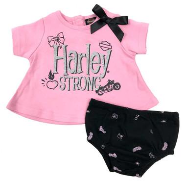 Harley-Davidson Baby Girls' Knit Tunic & Diaper Cover Newborn Set, Pink 2001921 - Wisconsin Harley-Davidson
