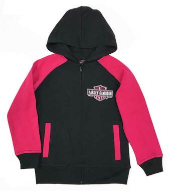 Harley-Davidson Little Girls' Glittery B&S Knit Zipper Hoodie, Black & Pink - Wisconsin Harley-Davidson