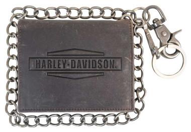 Harley-Davidson Men's Crazy Horse Biker Bi-Fold Short Wallet MCH8435-BRNBLK - Wisconsin Harley-Davidson