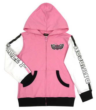 Harley-Davidson Little Girls' Colorblocked Knit Zipper Hoodie, Light Pink - Wisconsin Harley-Davidson