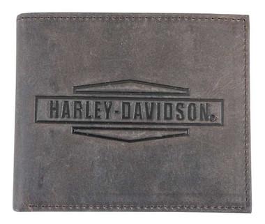 Harley-Davidson Mens Crazy Horse Leather Billfold Wallet MCH8450-BRNBLK - Wisconsin Harley-Davidson