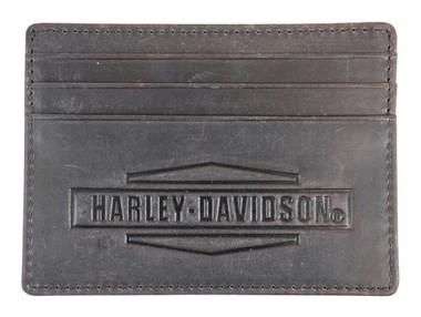 Harley-Davidson Men's Crazy Horse Front Pocket Leather Wallet MCH8489-BRNBLK - Wisconsin Harley-Davidson