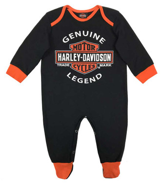 Harley-Davidson Baby Boys' Interlock B&S Footed Coveralls, Black 3050911 - Wisconsin Harley-Davidson