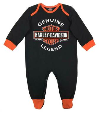 Harley-Davidson Baby Boys' Interlock B&S Footed Coveralls, Black 3050911 - Wisconsin Harley-Davidson