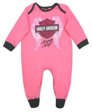Harley-Davidson Baby Girls' Glittery Interlock Footed Coveralls, Pink 3000913 - Wisconsin Harley-Davidson