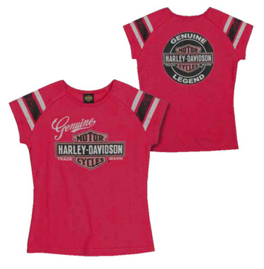 Harley-Davidson Little Girls' Glitter Genuine Legend Short Sleeve Tee, Pink - Wisconsin Harley-Davidson