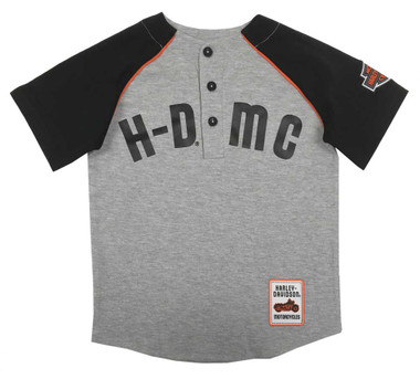 Harley-Davidson Little Boys' HDMC Raglan Baseball Jersey T-Shirt - Gray 1081933 - Wisconsin Harley-Davidson