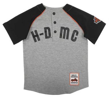 Harley-Davidson Big Boys' HDMC Raglan Baseball Jersey T-Shirt - Gray 1091933 - Wisconsin Harley-Davidson