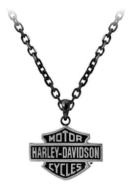 Harley-Davidson Men's Black Edge Bar & Shield Emblem Chain Necklace HSN0054-22 - Wisconsin Harley-Davidson