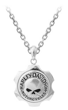 Harley-Davidson Men's Axel Willie G Skull Emblem Chain Necklace HSN0056-22 - Wisconsin Harley-Davidson