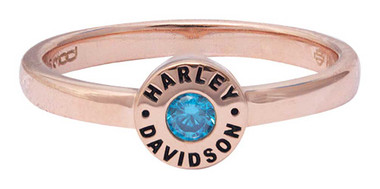 Harley-Davidson Women's Rose Gold Plated Blue Stone Stackable Ring HDR0492 - Wisconsin Harley-Davidson