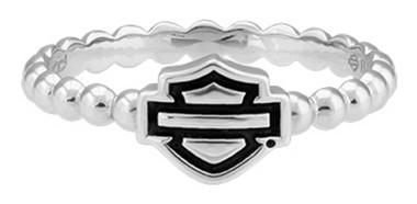 Harley-Davidson Womens Bar & Shield Outline Beaded Stackable Ring Silver HDR0499 - Wisconsin Harley-Davidson