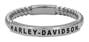 Harley-Davidson Women's Ruthenium Plated 'Rope' Stackable Ring, Gray HDR0488 - Wisconsin Harley-Davidson