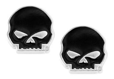 Harley-Davidson Women's Black Enamel Willie G Skull Post Style Earrings HDE0488 - Wisconsin Harley-Davidson