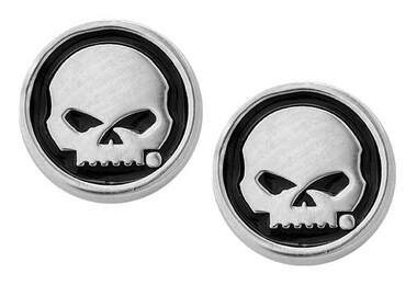 Harley-Davidson Women's Black Enamel Willie G Skull Post Style Earrings HDE0499 - Wisconsin Harley-Davidson