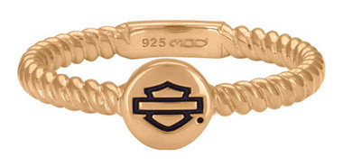Harley-Davidson Women's Rose Gold Plated Outline Rope Stackable Ring HDR0494 - Wisconsin Harley-Davidson
