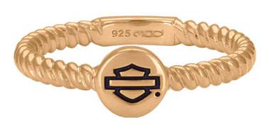 Harley-Davidson Women's Rose Gold Plated Outline Rope Stackable Ring HDR0494 - Wisconsin Harley-Davidson