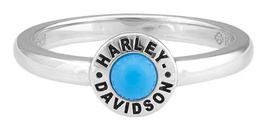 Harley-Davidson Women's Turquoise Stone Stackable Ring, Silver HDR0498 - Wisconsin Harley-Davidson