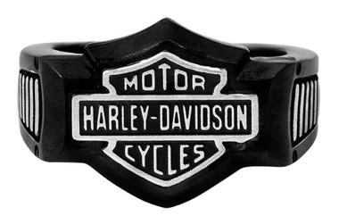 Harley-Davidson Men's Silver on Black Bar & Shield Signet Ring, Steel HSR0055 - Wisconsin Harley-Davidson