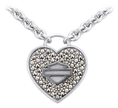 Harley-Davidson Women's Bling Heart Ruthenium Bar & Shield Necklace HDN0435 - Wisconsin Harley-Davidson