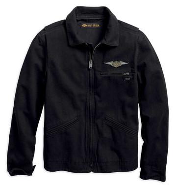 Harley-Davidson Men's Winged Logo Slim Fit Casual Jacket, Black 96691-19VM - Wisconsin Harley-Davidson