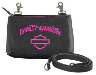 Harley-Davidson Women's Fuchsia Embroidery Hip Bag w/ Strap FEE2530-FUHBLK - Wisconsin Harley-Davidson
