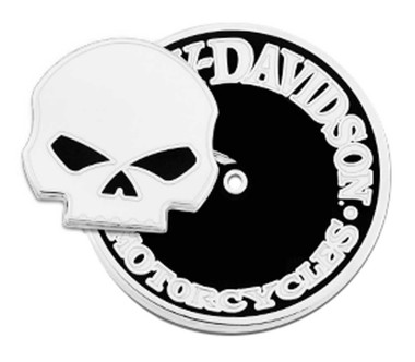 Harley-Davidson 1.25 in. 2 Piece Willie G Skull Pin, Shiny Nickel Finish 8008918 - Wisconsin Harley-Davidson