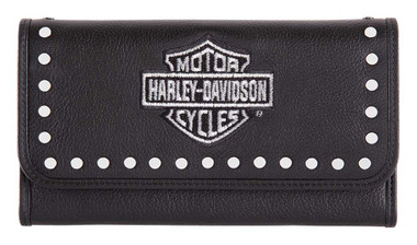 Harley-Davidson Women's Embroidery Studded Traditional Leather Wallet HDWWA11462 - Wisconsin Harley-Davidson