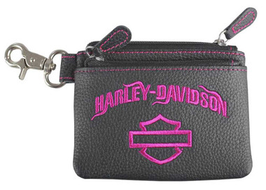 Harley-Davidson Women's Fuchsia Embroidery Leather Coin Pouch FEE2551-FUHBLK - Wisconsin Harley-Davidson