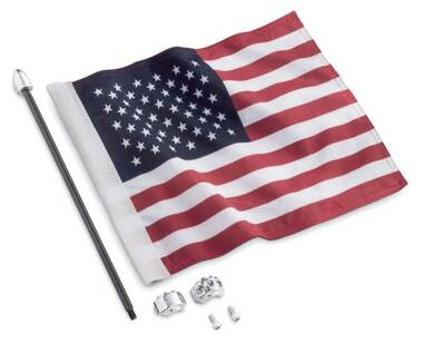 Harley-Davidson Premium American Flag Kit - 14 x 11 in. Nylon Flag 61400617 - Wisconsin Harley-Davidson