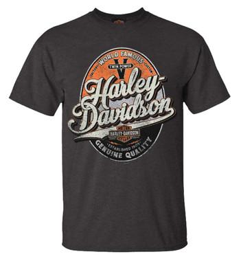 Harley-Davidson Men's Bootleg Distressed Short Sleeve T-Shirt - Tar Gray - Wisconsin Harley-Davidson