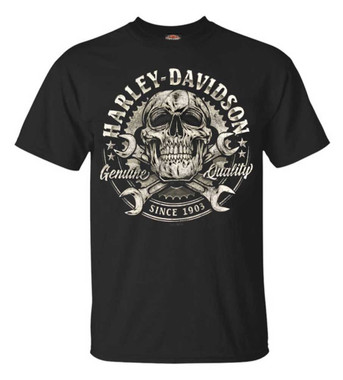 Harley-Davidson Men's Skull & Wrenches Crew Neck Short Sleeve Tee - Black - Wisconsin Harley-Davidson