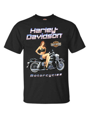 Harley-Davidson Men's Black Top Pin-Up Cotton Short Sleeve T-Shirt - Black - Wisconsin Harley-Davidson