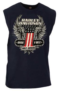 Harley-Davidson Men's Daredevil #1 Sleeveless Crew Neck Muscle Shirt - Navy - Wisconsin Harley-Davidson