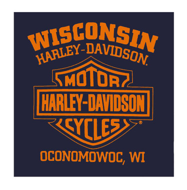 Harley-Davidson Men's Scorch B&S Pullover Poly-Blend Hoodie - Navy Blue - Wisconsin Harley-Davidson