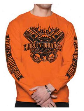 Harley-Davidson Men's Powerband Pistons Long Sleeve Cotton Shirt - Orange - Wisconsin Harley-Davidson