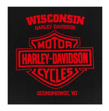 Harley-Davidson Men's Shop Angel All-Cotton Short Sleeve T-Shirt - Black - Wisconsin Harley-Davidson