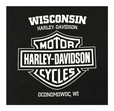 Harley-Davidson Men's Classic Eagle Short Sleeve Crew Neck T-Shirt - Black - Wisconsin Harley-Davidson