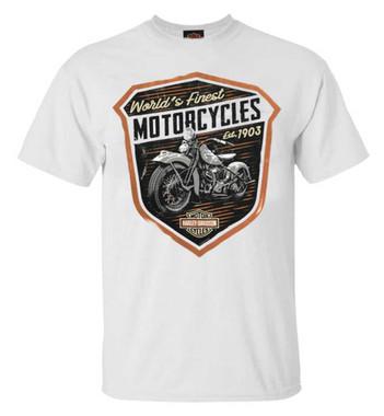 Harley-Davidson Men's Finest Shield Crew Neck Short Sleeve T-Shirt - White - Wisconsin Harley-Davidson