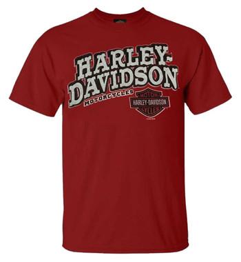 Harley-Davidson Men's Clever H-D Crew Neck Short Sleeve T-Shirt, Cardinal Red - Wisconsin Harley-Davidson