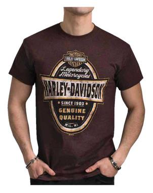 Harley-Davidson Men's Supreme Poly-Blend Short Sleeve Crew Neck T-Shirt - Brown - Wisconsin Harley-Davidson
